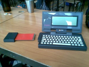 Atari Portfolio with a homebrew RAM card at Głuchołazy Party